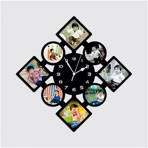 Wooden Photo clock with 8 Photos