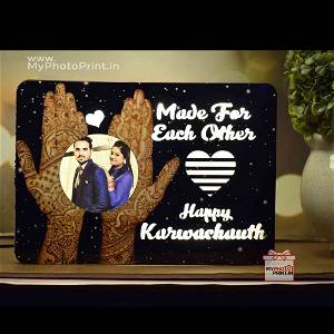 Made For Each Other Karwa Chauth Wooden Table Top