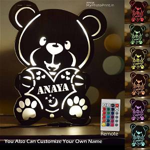 Customized Multicolor Cute Teddy Bear Name board With Led and Remote #1573