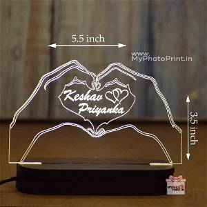 Personalized Couple Heart Shape Acrylic 3D illusion LED Lamp with Color Changing Led and Remote #1575