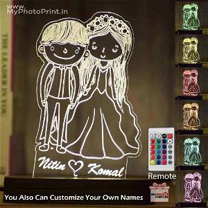Personalized Cartoonist Couple Acrylic 3D illusion LED Lamp with Color Changing Led and Remote #1576
