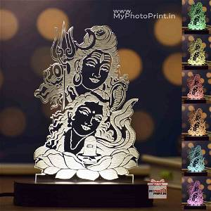 Mahadev Ji Acrylic 3D illusion LED Lamp with Color Changing Led and Remote#1577