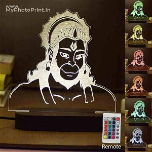Hanuman Ji Acrylic 3D illusion LED Lamp with Color Changing Led and Remote#1579