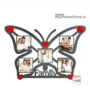 Personalized Butterfly Shape Family Wooden Collage 5 Photos