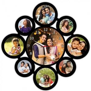 Personalised Wall Clock Frame With 9 images