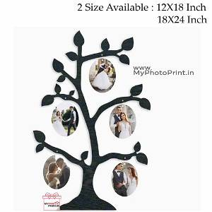 Personalized Couple Tree Wooden Photo Frame Collage 5 Photos