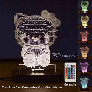 Personalized Kitty Acrylic 3D illusion LED Lamp with Color Changing Led and Remote#1588