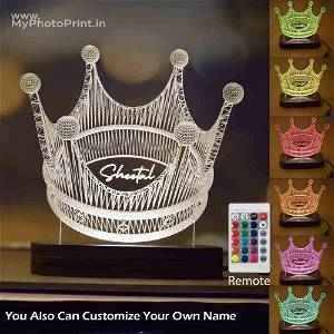 Personalized The Crown Acrylic 3D illusion LED Lamp with Color Changing Led and Remote#1589
