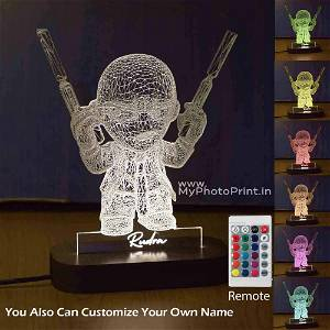 Personalized Cartoon With Gun Acrylic 3D illusion LED Lamp with Color Changing Led and Remote#1590