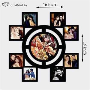 Your Wooden Photo Clock Frame Collage 9 Photos