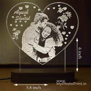 Personalized Heart Shaped Photo Acrylic 3D illusion LED Lamp with Color Changing Led and Remote#1591