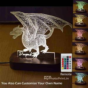 Personalized Dragon Acrylic 3D illusion LED Lamp with Color Changing Led and Remote#1592