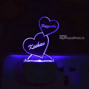 Personalized 2 Heart Plug Acrylic Night Lamp With Multicolor Lights #1597