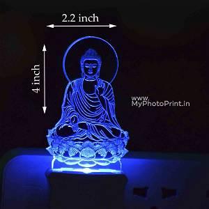 Personalized Peaceful Buddha Plug Acrylic Night Lamp With Multicolor Lights #1599