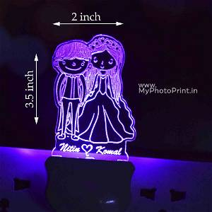 Personalized Cartoonist Couple Plug Acrylic Night Lamp With Multicolor Lights #1600
