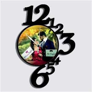 Your Text OR Name Wooden Photo Collage Frame Wall Clock