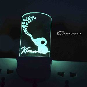 Personalized Heart Plug Acrylic Night Lamp With Multicolor Lights #1602