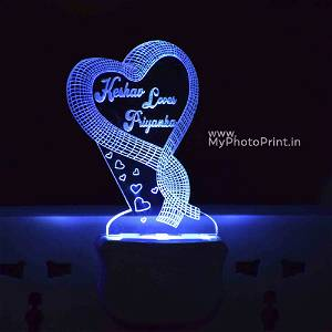 Personalized Couple Plug Acrylic Night Lamp With Multicolor Lights #1603