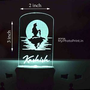 Personalized Mermaid Plug Acrylic Night Lamp With Multicolor Lights #1604