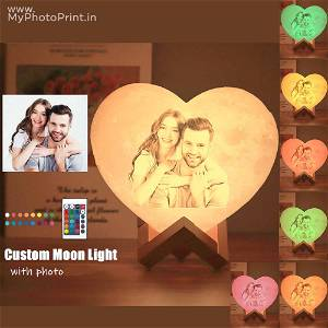Photo Heart Shape 3D Printed Moon Lamp Personalized with Text & Photo | 2