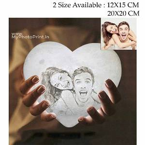 Photo Heart Shape 3D Printed Moon Lamp Personalized with Text & Photo | Multi Color