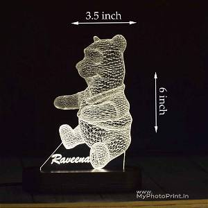 Customized Teddy Bear Acrylic 3D illusion LED Lamp with Color Changing Led and Remote #1609