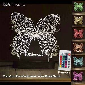 Personalized Butterfly Acrylic 3D illusion LED Lamp with Color Changing Led and Remote #1612