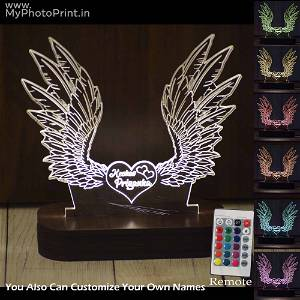 Personalized Angel Wings Acrylic 3D illusion LED Lamp with Color Changing Led and Remote #1634