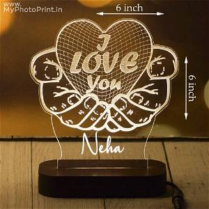Personalized Love Hands Acrylic 3D illusion LED Lamp with Color Changing Led and Remote #1635