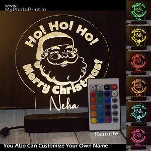 Personalized Merry Christmas Acrylic 3D illusion LED Lamp with Color Changing Led and Remote #1636
