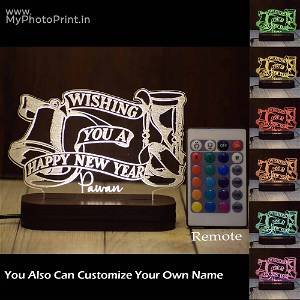 Personalized Wishing You A Happy New Year Acrylic 3D illusion LED Lamp with Color Changing Led and Remote #1639