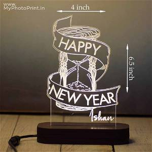 Personalized Happy New Year Acrylic 3D illusion LED Lamp with Color Changing Led and Remote #1640