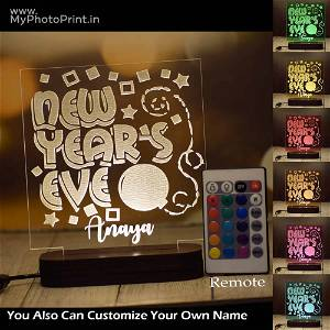 Personalized New Year's Eve Acrylic 3D illusion LED Lamp with Color Changing Led and Remote #1614