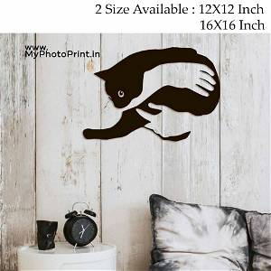 Cat In Hand Wooden Wall Decoration