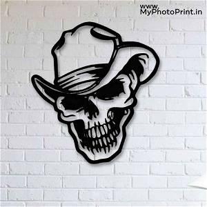 Smiley Skull Head  Wooden Wall Decoration