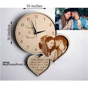 Custom Couple Photo Clock Engrave Photo Frame